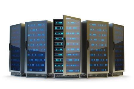 Rechenzentrum, Server Racks auf weißem Hintergrund isoliert