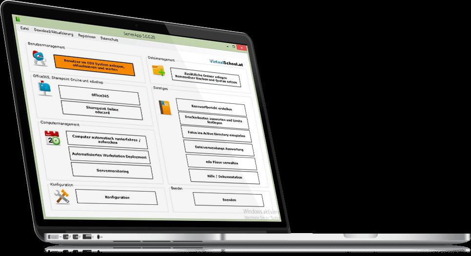 Laptop mit screenshot von Virtualschool