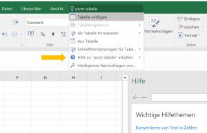 Screenshot Excel: Wie erstelle ich eine Pivot Tabelle?