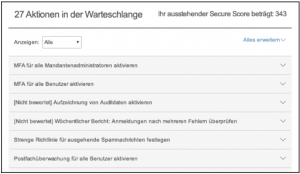Secure Score - Aktionenwarteschlange