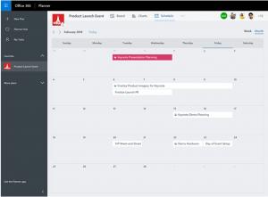 Screenshot: Microsoft Planner, Kalenderansicht
