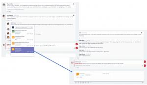 Microsoft Teams, Direktangabe von Inhalten aus anderen Apps