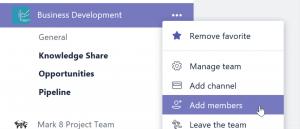 Screenshot Office 365 Teams: 'Einladen der Projektmitglieder'