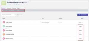Screenshot Office 365 Teams: 'Markierung der Gastmitglieder'
