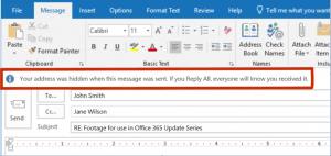 Outlook Mitteilung bei 'Allen antworten' und Bcc Empfänger