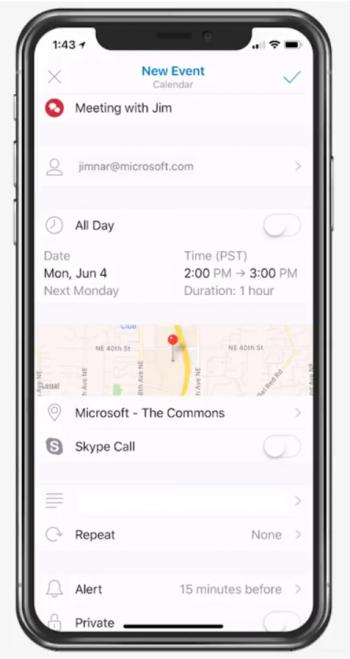 Vollständige Location Information für Outlook Kalender Termine