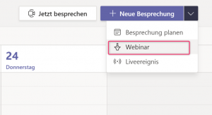 Neue Besprechnung / Webinar erstellen